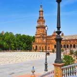 Plaza de Espana i Seville, Spanien Arkivfoto