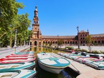 Plaza de Espana i Seville, Spanien Royaltyfri Fotografi