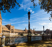 Plaza de Espana i solig dag seville spain Arkivbilder
