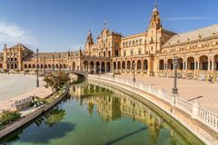 Seville in south west Spain. Plaza de Espana a major tourist attraction in Seville Spain Royalty Free Stock Images