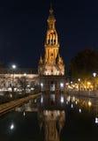 Plaza de Espana natt, Andalusia Seville, Spanien Royaltyfria Foton
