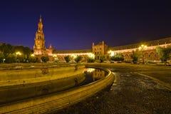 Plaza de Espana at night. Plaza de Espana, Sevilla, Spain Stock Photo