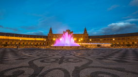 Plaza de Espana Night. Night time lapse at Plaza de Espana, with violet moving fountain at sunset from dusk to night 4K stock video
