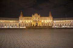 Plaza de Espana night view - Spain square - Seville - Spain stock photo