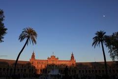 Plaza de Espana no por do sol, Sevilha Fotos de Stock Royalty Free