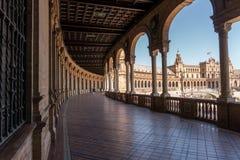Plaza De Espana På dagsljus, Seville Spanien arkivfoto