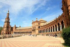 Plaza de Espana Palace & torretta, Siviglia. La Spagna fotografia stock