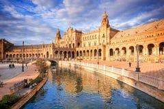 Plaza de Espana (quadrado da Espanha) em Sevilha, Espanha foto de stock