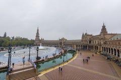 Plaza De Espana, Sevilha, dia chuvoso fotos de stock royalty free