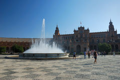 Plaza DE Espana in Sevilla Stock Afbeeldingen