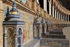 Plaza de Espana Sevilla, Andalucía, España, Europa. Details of the facade and columns of the Plaza de Espana in Seville, Andalusia, southern Spain Stock Images