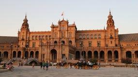 Plaza de Espana Sevilla, Andalucía, España, Europa. View of the central building with horse carriages and tourists Stock Photo