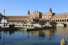 Plaza de Espana Sevilla, Andalucía, España, Europa. View from the pond with water under the north tower Royalty Free Stock Photo