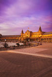 Plaza de Espana in Sevilla at dusk, Spain. Royalty Free Stock Images