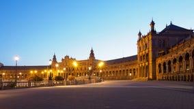 Plaza de Espana in Sevilla nachts Stockbild