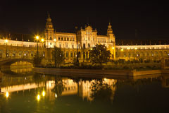 Plaza de Espana in Sevilla at night, Stock Photo