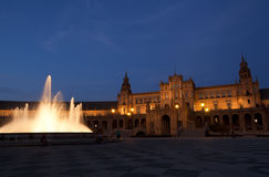 Plaza de Espana in Sevilla at night Stock Photo