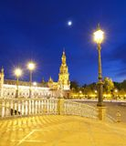 Plaza de Espana in Sevilla At Night Royalty Free Stock Photo