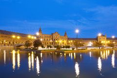 Plaza de Espana in Sevilla At Night Stock Photography