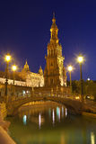 Plaza de Espana in Sevilla at night, Spain. Stock Photography