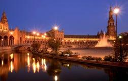 Plaza de espana Sevilla på natten Arkivbilder