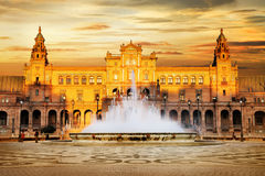 Plaza de Espana, Sevilla, Spain. Beautiful Plaza de Espana on sunset, Sevilla, Spain royalty free stock images