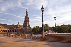 Plaza de Espana in Sevilla at sunset Royalty Free Stock Photography