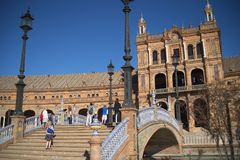 Plaza DE Espana in Sevilla werd gebouwd voor 1929 ibero-Americana Exposicion Stock Foto