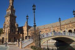 Plaza de Espana in Sevilla wurde für das Ibero-Americana Exposicion 1929 errichtet Lizenzfreie Stockfotografie