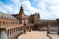 Plaza de Espana, Seville. Plaza de Espana in Seville, Spain. An example of Moorish Revival style in Spanish architecture, built in 1928 for a World's Fair stock photography