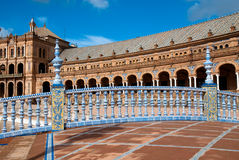 Plaza de Espana, Seville. Bridge in Plaza de Espana in Seville, Spain. An example of Moorish Revival style in Spanish architecture, built in 1928 for a World's Royalty Free Stock Image
