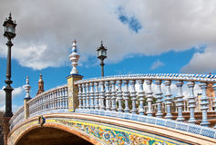 Plaza de Espana, Seville. Bridge in Plaza de Espana in Seville, Spain. An example of Moorish Revival style in Spanish architecture, built in 1928 for a World's Royalty Free Stock Images