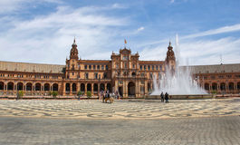 Plaza de Espana, Seville Arkivfoton