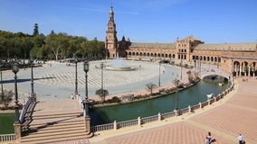 Plaza de Espana, in Seville,Andalisia,Spain. Beautiful morning in Plaza de Espana, in Seville,Andalisia,Spain stock footage