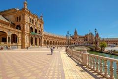 Plaza de Espana. Seville, Andalusia, Spain - April 18, 2016: panoramic view of Plaza de Espana, popular landmark in Seville town Royalty Free Stock Image