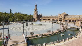 Plaza de Espana, in Seville,Andalusia,Spain. Timelapse in Plaza de Espana, in Seville,Andalusia,Spain in a beautiful summer morning stock video footage