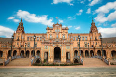 Plaza de Espana in Seville, Andalusia. Wide-angle view of the Plaza de España in Seville, Spain, a square built in 1928 for the Ibero-Amercian Exposition of Royalty Free Stock Photo