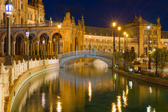 Plaza de Espana in Seville at black night Royalty Free Stock Image