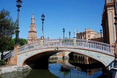 Plaza de Espana, Seville, Spain. Canal and footbridge in the Plaza de Espana, Seville, Seville Province, Andalucia, Spain, Western Europe Royalty Free Stock Photography