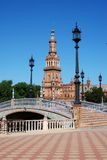 Plaza de Espana, Seville, Spain. Footbridge and tower in the Plaza de Espana, Seville, Seville Province, Andalusia, Spain, Western Europe Stock Photography