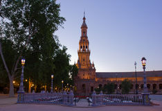Plaza de Espana , Seville, Spain. Tower of Plaza de Espana at night, Seville, Spain Royalty Free Stock Image