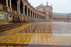 Plaza de Espana at Seville, Spain. Plaza de Espana, Seville, on a rainy day Royalty Free Stock Photos