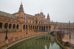 Plaza de Espana at Seville, Spain. Plaza de Espana, Seville, on a rainy day Royalty Free Stock Images