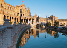 Plaza de Espana in Seville at sunset Royalty Free Stock Images