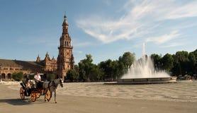 plaza de Espana Sewilli Hiszpanii Obrazy Royalty Free