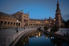 Spain Andalucia Plaza de Espana Sunset Night time stock photos