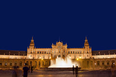 Plaza de Espana at Night in Seville. Plaza de Espana (Spain's Square) pavilion and fountain at night in Seville, Andalusia, Spain Stock Photo