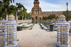 Plaza de Espana - Spain`s Square in Seville, Spain. Spain`s Square in Seville and a lake with Canoes, Spain royalty free stock images