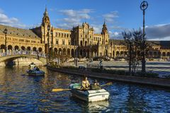 Boats at Plaza de España Seville Spain royalty free stock images