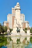 Plaza de Espana or Spain Square in Madrid with the Monument to Cervantes Royalty Free Stock Photography